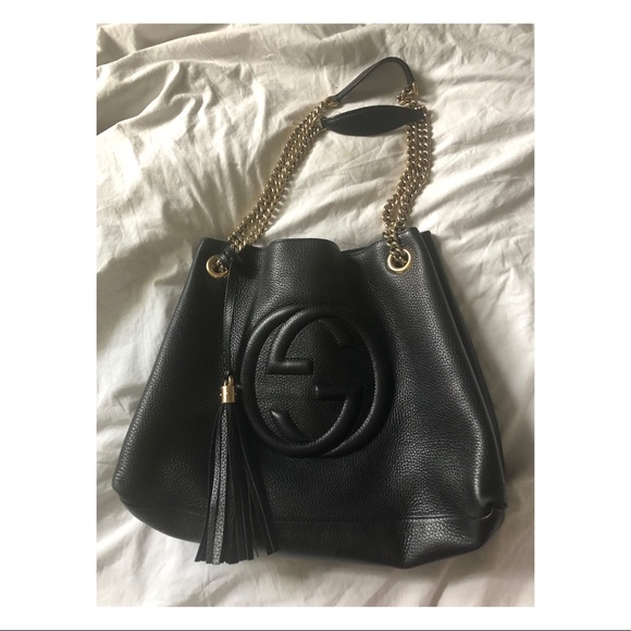 Gucci Handbags - Gucci soho leather chain strap tote medium